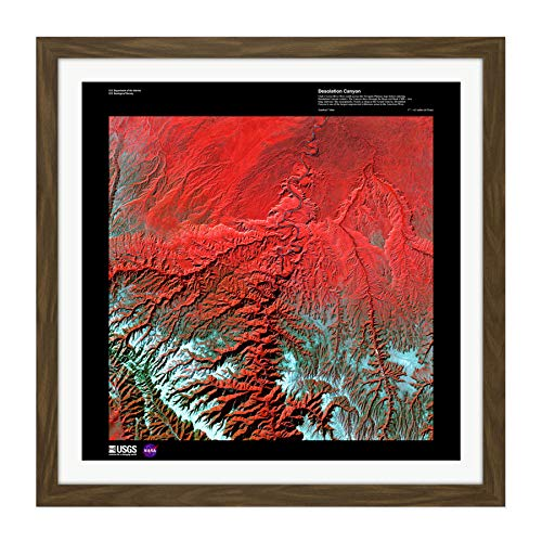 (Science Map Satellite Desolation Canyon Utah USA Replica Square Wooden Framed Wall Art Print Picture 16X16 Inch)