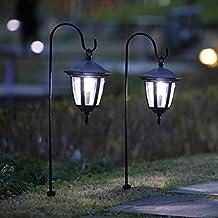 Maggift 26 Inch Hanging Solar Lights Dual Use Shepherd Hook Lights with 2 Shepherd Hooks Outdoor Solar Coach Lights, 2 pack