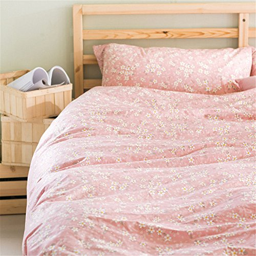 - Pastoral Princess Style Cotton 4pcs Bedding Sets for Girls Women Pretty Flowers Reactive Printed Pink King Size-1 Duvet Cover 2 Pillowcases and 1 Solid Pink Flat Sheet
