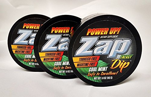 Zap Dip (Cool Mint) Energy Dip No Tobacco or Nicotine Smokeless Dip - 3 Pack