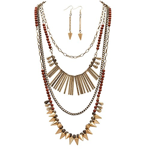 Seta Jewelry Mixed Chain and Beaded Multi-Charm Antiqued Gold Tone Vintage-Inspired 2-Piece Set