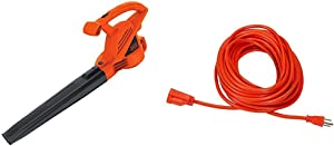 BLACK+DECKER Electric Leaf Blower, 7-Amp (LB700) & AmazonBasics 16/3 Vinyl Outdoor Extension Cord | Orange, 50-Foot