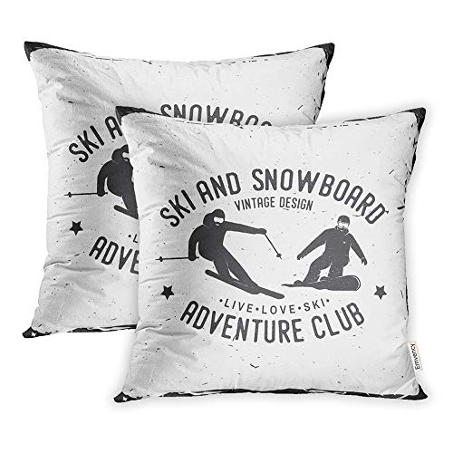 (Emvency Set of 2 Throw Pillow Covers Print Polyester Zippered Ski and Snowboard Club for Stamp Badge Tee Vintage Snowboarder Skier Silhouette Pillowcase 18x18 Square Decor for Home Bed Couch Sofa)