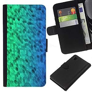 WINCASE Cuadro Funda Voltear Cuero Ranura Tarjetas TPU Carcasas Protectora Cover Case Para Sony Xperia Z1 L39 - Modelo verde uniforme azul