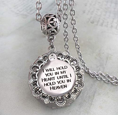 I Will Hold You In My Heart Until I Hold You In Heaven Memorial Locket Necklace, Miscarriage, Stillborn, Loss of Baby, Bereavement Sympathy Gift, Elegant Jewelry -