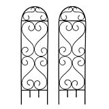 "Hosley's Wave Iron Trellis, 27"" High. Set of 2. Ideal for gardens, next to structures (home or office) for growing plants and vines."