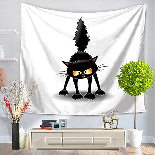 YJ-Bear Black Cat Print Rectangle Indian Mandala Boho Beach Towel Throw Wall Hanging Tapestry Non-Woven Weaving Yoga Mat Blanket Table Cloth Cover 59
