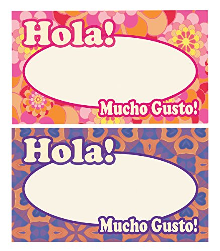 Spanish Party Name Tags, Name Badge Writable Stickers! Name Tags En Espanol Perfecto para Reuniones, Fiestas Y Bodas, Ole! (90 -