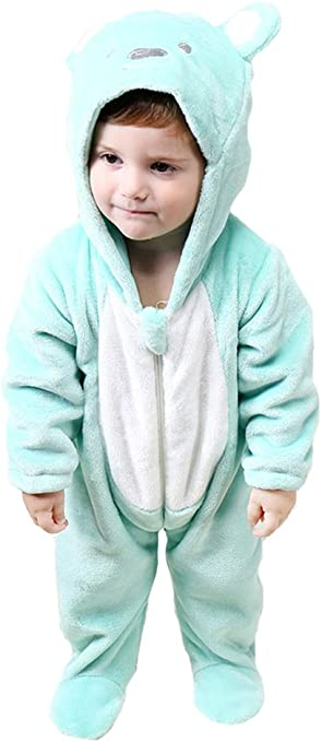 Tonwhar Infant bebé de dibujos animados oso franela pijama ...