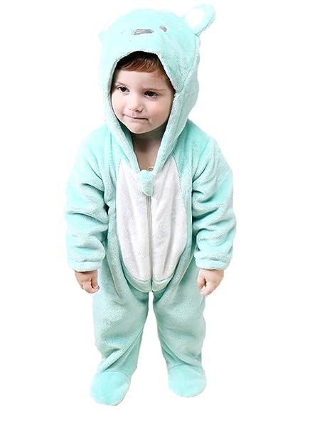 Tonwhar Infant bebé de dibujos animados oso franela pijama Pelele Onesie disfraz oso verde Talla: