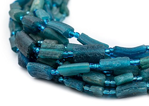 Rectangular - Aqua Roman Glass Beads, 100% Authentic and Genuine Ancient Glass, Made in Afghanistan, Matte Glass Beads for Jewelry Making, The Bead Chest