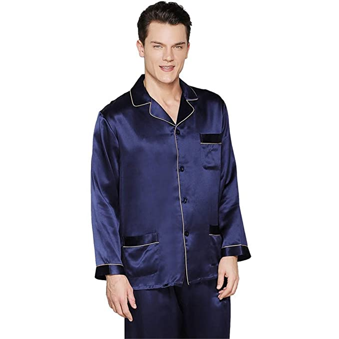 Pijama de Seda para Hombres Camiseta de Manga Larga y Pantalones de Ropa de Dormir: Amazon.es: Ropa y accesorios