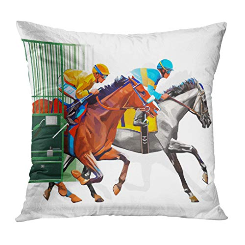 LUOLNN Throw Pillow Cover Three Racing Horses Competing with Each Other with Motion Blur to Accent Speed Start Gates for Races The Decorative Pillow Case Home Decor Square 18x18 Inches Pillowcase
