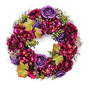 Jusdreen 20 Inch Spring Artificial Wreath Ornaments Front Door Window Hanging Decorations 7