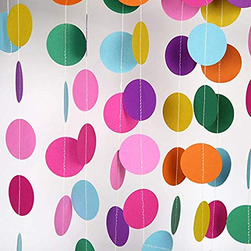 Oyep 2Pack Paper Garland Decorations Circle Dots Paper Garland for Room Party Decorations(26Feet Long Set of 2) … (Rainbow)