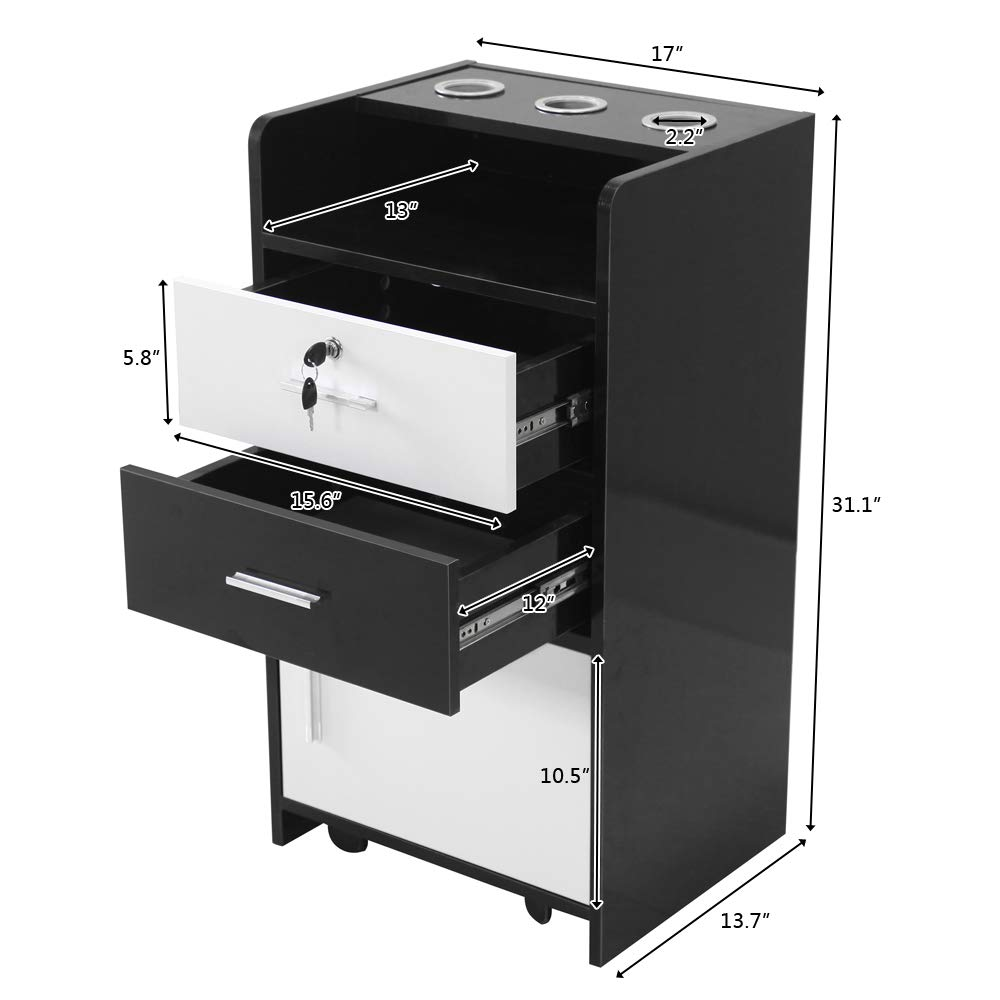 Salon Wood Rolling Drawer Cabinet Trolley Spa 3-Layer Cabinet Equipment with A Lock Black & White (Black&White) by hellowland (Image #7)