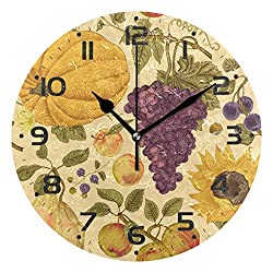 ZZKKO Sunflowe and Fruit Wall Clock, Silent Non Ticking Battery Operated Easy to Read Decorative Wall Clock for Kitchen Bedroom Bathroom Living Room Classroom