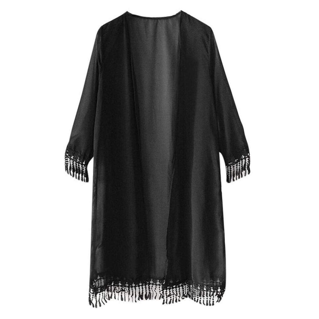 Go-First Beach Cardigan for Women Classic Solid Color Cozy Loose Lightweight Temperament Dress Summer Leisure Simple Chiffon Swimsuit Shawl with Fashionable Tassel (Color : Black, Size : Libero)