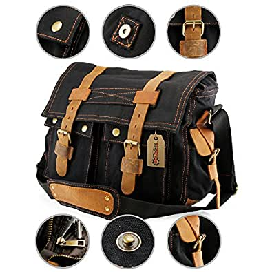 GEARONIC TM Men's Vintage Canvas Messenger Bag Shoulder and Leather Satchel School Military for Notebook Laptop Macbook 11 and 13 inch Air - Black