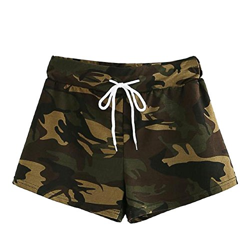 Fashion Womens Shorts, vermers Summer Casual Hot Pants Drawstring Waist Camo Trousers(L, Camouflage)