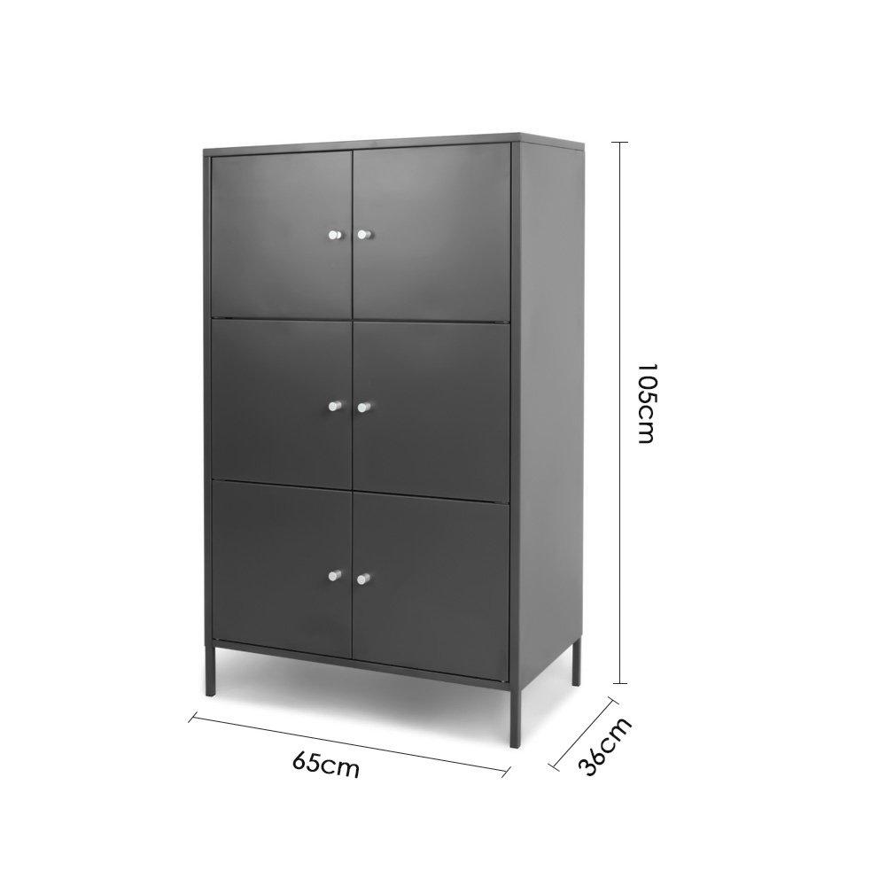IKAYAA Taquilla Consigna de Metal de Hogar con 6 Puertas Archivador para Oficina (Gris Oscuro): Amazon.es: Electrónica