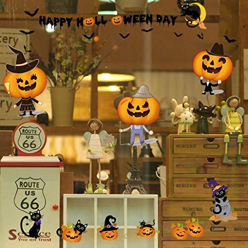 Rumas DIY Self-Adhesive Pumpkin Halloween Wall Stickers Clothes Shop Window - Art Wall Murals Kids Room Door TV Background - Removable Wall Decals Bedroom Office Kindergarten (Multicolor)