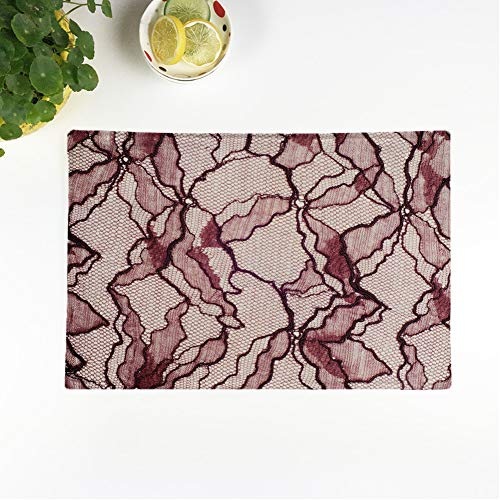 rouihot Set of 4 Placemats Lace on Studio Thin Made of Yarn Thread Typically 12.5x17 Inch Non-Slip Washable Place Mats for Dinner Parties Decor Kitchen Table (Chantilly Lace Mat)