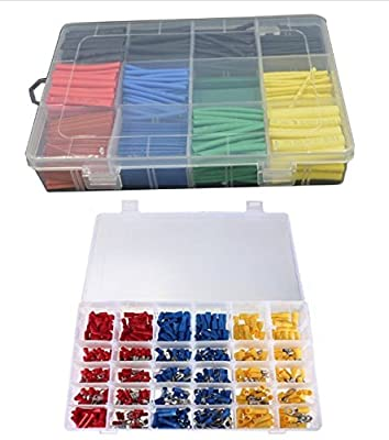 6MILES 480 Pcs Wire Terminal Marine Wiring Connector Home Tools Multitools Set Car Garage Kitchen Boat Electrical Kit+530 Pcs 2:1 Heat Shrink Tubing Tube Sleeving Wrap Cable Wire 5 Color 8 Size