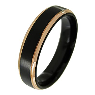 Two Tone Round Black Tungsten Comfort Fit Mens Womens Wedding Band