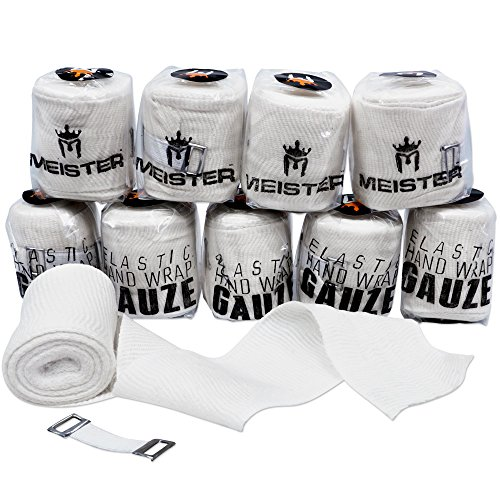 Meister Elastic Gauze Hand Wraps for Boxing & MMA - Mexican Style - White - 10 Pack