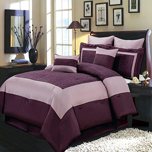 Chic style and immense comfort with the 8pc Purple Wendy King comforter set; Beautiful plum and lavender colors with swirl detail upon a 100% Polyester fabric