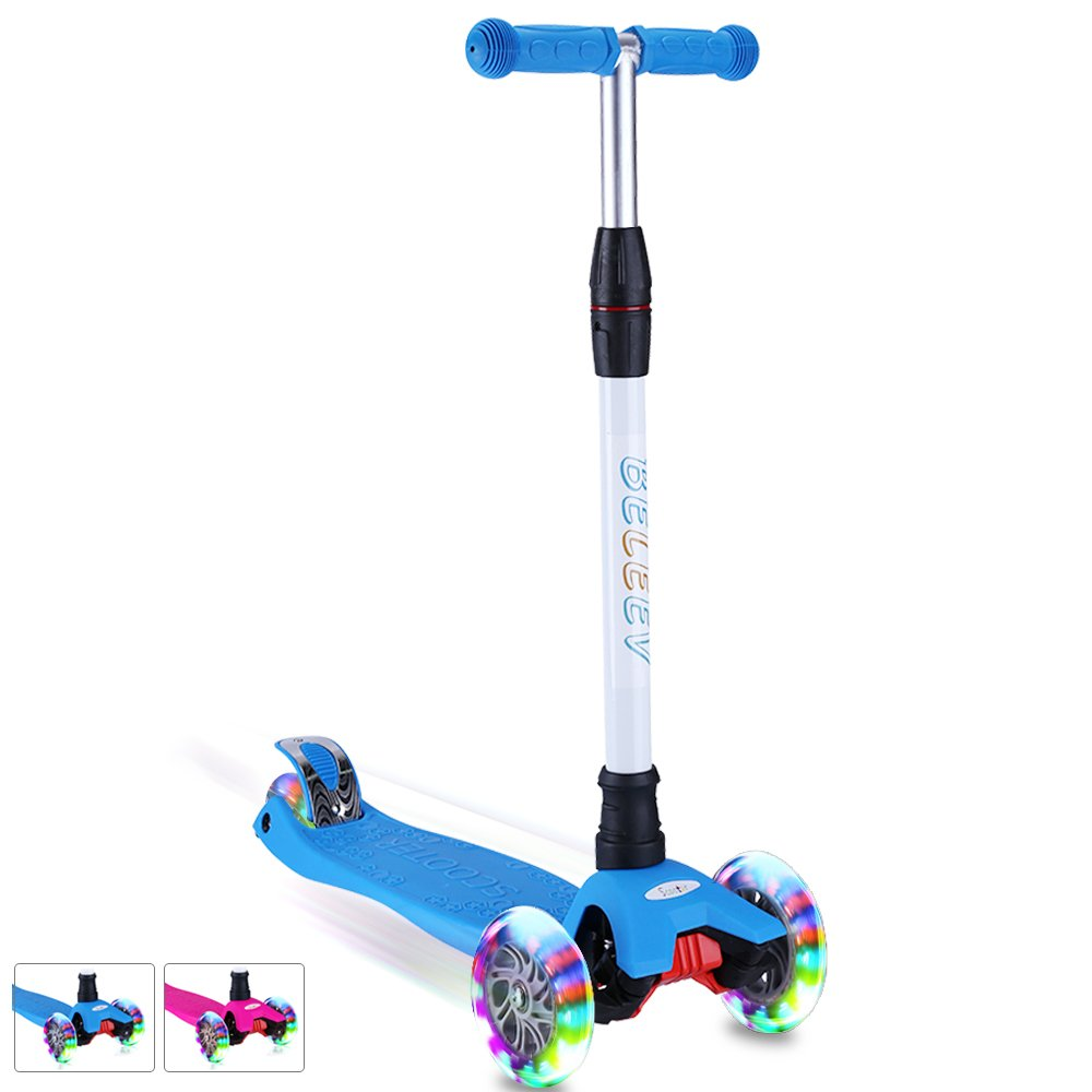 BELEEV Kick Scooter Kids 3 Wheel 4 Adjustable Height Scooter, Lean to Steer with PU LED Light Up Flashing Wheels for Children Age 3-12 Years Old (Blue)