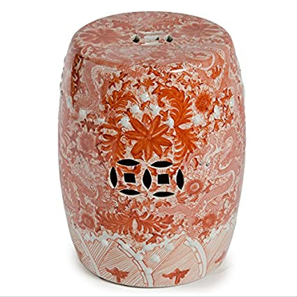 Groovy Legends Of Asia Asian Traditional Orange Ceramic Garden Stool With Dragon Motif Theyellowbook Wood Chair Design Ideas Theyellowbookinfo