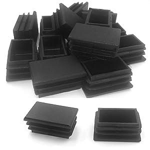 1 x 2 Inch Rectangle Tubing Plug Cap, Black Plastic Plug End Cap 20 Pack (25mmx50mm)