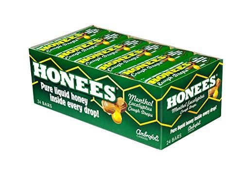 Ambrosoli Honees Menthol Eucalyptus Cough Drops, 9-Drop Bars (Pack of 24) (Best Cough Drops For Cough)