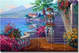 ''Romance of Lake Como'' by Mikki Senkarik - Artwork On Tile Ceramic Mural 17'' x 25.5'' Kitchen Shower Backsplash