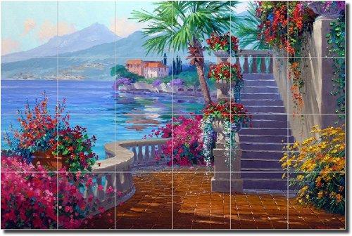 ''Romance of Lake Como'' by Mikki Senkarik - Artwork On Tile Ceramic Mural 17'' x 25.5'' Kitchen Shower Backsplash