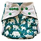 "HappyEndings ""Night, Night""TM Charcoal Bamboo All In One Diaper (+Pocket & 5 Layer Charcoal Bamboo Insert) ""Elephants"""