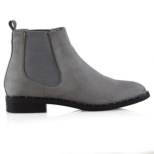 Womens Pull Studded Shoes On Grey ESSEX Ladies Boots Goth Flat Chelsea Biker Heel Ankle Suede Faux GLAM qxzICFwnA5