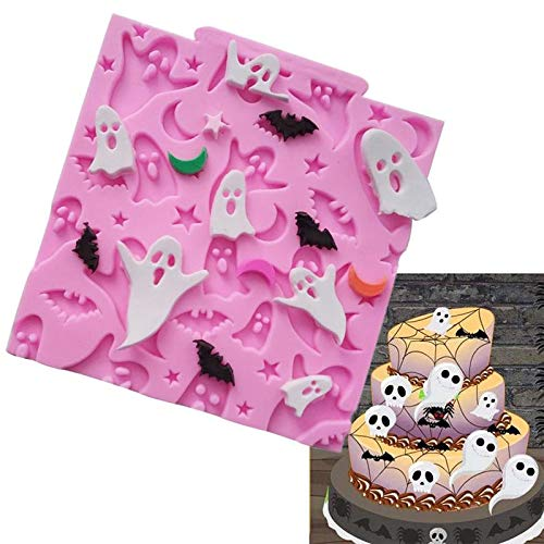 1 piece Halloween Ghosts Bats Moon Star Silicone Mold Cake Border Cupcake Fondant Cake Candy Clay Chocolate Gumpaste Moulds]()