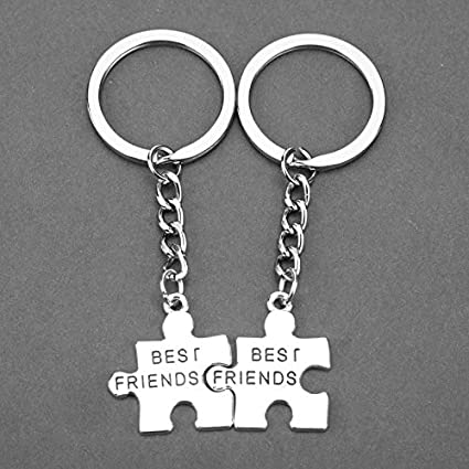 FITIONS - 2Pcs Puzzle Best Friends Keychain Alloy Silver ...