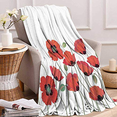 maisi Floral Digital Printing Blanket Poppy Flowers in Garden Fresh Plant Idyllic Nature Fragrance Theme Artistic Print Summer Quilt Comforter 62