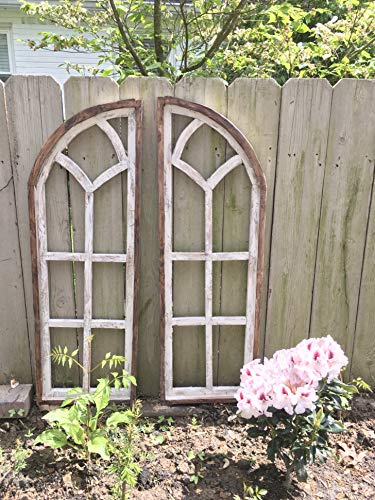 - Arch Window SET, Farmhouse Cottage Decor, Cathedral Window, Distressed Chippy Paint, Wall Decor, Farmhouse wall, Window Frame