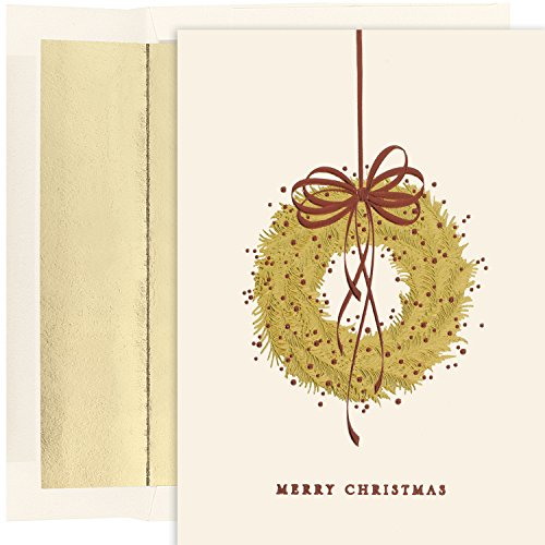 Masterpiece Studios Holiday Collection Hanging Wreath Greetings, 16 Cards/Foil Lined Envelopes (869100) (Masterpiece Studios Stationery)