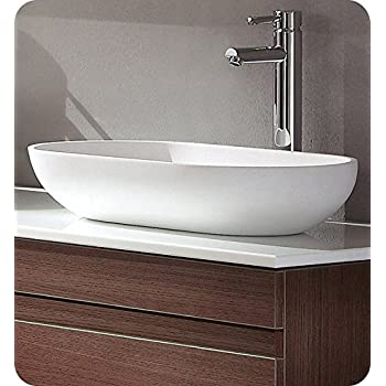Beau Fresca FVS8054WH Oval Acrylic Modern Bathroom Vessel Sink, White