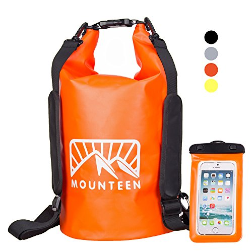 Waterproof Dry Bag By Mounteen: Roll Top Secure Sack To Keep Your Gear Safe From Water, Perfect For Kayaking and Watersport, Adjustable Straps With Waterproof Phone Case, 4 Colors And 2 Sizes