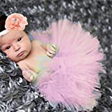 Feiuruhf Photography Prop Baby Infant Lovely Costume TuTu Dress Flower Headband Pink