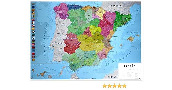Close Up Póster Mapa Físico Político de España (91,5cm x 61cm) + 2 Marcos Transparentes con suspención: Amazon.es: Hogar