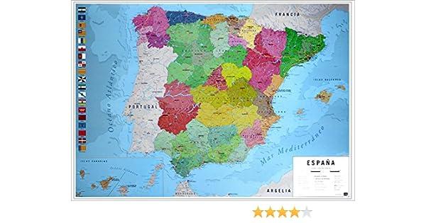 Close Up Póster Mapa Físico Político de España (91,5cm x 61cm) + 2 ...
