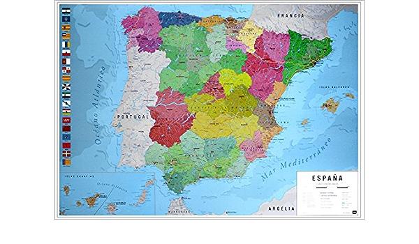 Póster Mapa Físico Político de España (91,5cm x 61cm) + 1 Póster con Motivo de Paraiso Playero: Amazon.es: Hogar